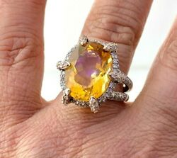 Statement Bold Ring Natural Diamond And Citrine In 14k Solid 2 Tone Gold Sz6