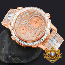 Men's 2 Time Zone Chronograph Baguette Rose Gold Tone Custom Luxury Watch W/date