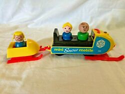 Fisher-price Vintage 1970 Little People Mini Snowmobile And 3 Wood People