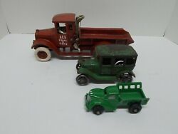 Vintage Cast Iron Red Dump Truck W/ Rubber Wheels And Arcade Cast Iron Sedan And Trk