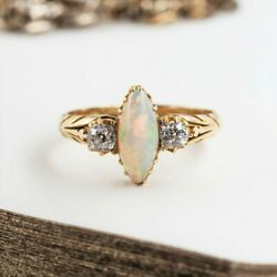 18ct Antique Yellow Gold Opal And Old Cut Diamond Ring Size M 1/2 51838
