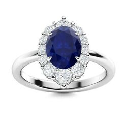Genuine 1.78 Ct Natural Aaa Blue Sapphire And Si Diamond Halo Ring 14k White Gold