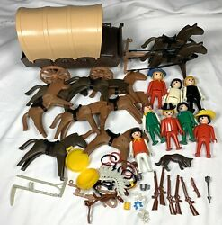 Vintage Playmobil Western Cowboy Covered Wagon Horse Figure Toy Accessories Lot