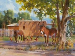 Tom Haas Painting And039extended Familyand039 Oil 12x16 New Mexico Burro Landscape Realism