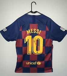 Lionel Messi 10 Signed Nike Fc Barcelona Jersey Authenticated With Coa
