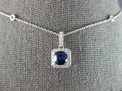 1.51ct Diamond And Aaa Sapphire 18k White Gold 3d Cushion By The Yard Love Pendant