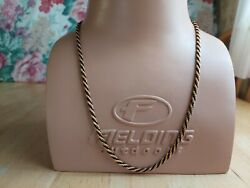 Vintage Trifari Signed Twist Gold Tone Black Cord Rope Chain Necklace 1558