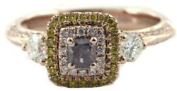 .98ct White Pink And Fancy Yellow Diamond 18k Rose Gold 3d Cushion Engagement Ring