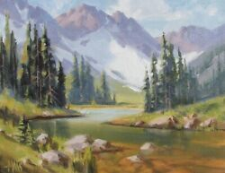 Tom Haas Painting And039through The Passand039 Oil 11x14 Colorado Mountains Snow Realism