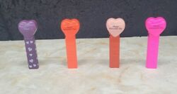 1996 Pez Lot Of 4 - Happy Valentine's Day Hearts And - Purple, Red, Pink