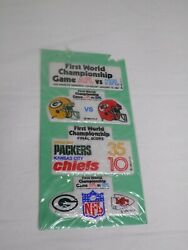 Vintage Super Bowl 1 Green Bay Packers Vs Kc Chiefs Puffy Stickers 1967 Nfl