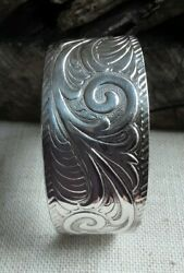 Lt Sterling Silver 925 Thailand Wide Classical Scroll Repousse Cuff 41.4gr4921f