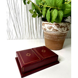 Vintage Mission Leather Double Deck Genuine Leather Case W/ Playing Cards