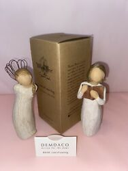 Willow Tree Lot Of 2 Figurines Teacher Love Of Learing And Angel Thank You
