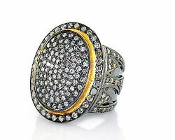 Cocktail Victorian Inspir Rose Cut Diamond Antique Silver Oxidized Pave Ring V11