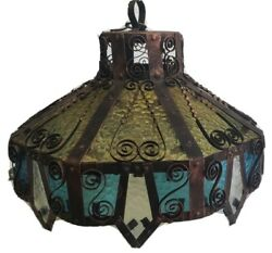 Vintage Antique Wrought Iron - Stained Glass Indoor Chandelier Blue Yellow