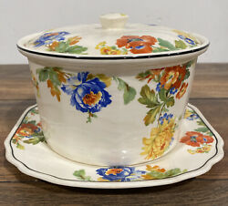 Vtg Harker Oriental Poppy Hotoven Lidded Floral Countryside Casserole And Plate