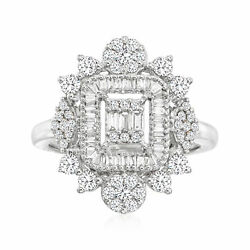 1.00 Ct. T.w. Diamond Cluster Ring In 14kt White Gold