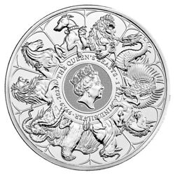 2021 U.k. 1 Kilo Silver Queenand039s Beast Completer Coin Bu