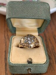 Star 14k Gold Rose Cut Diamonds Foiled Bombe Ring Dome Antique Victorian Cluster