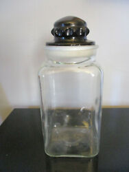 Rare Antique Apothecary General Store Glass Counter Display Candy Jar Black Lid