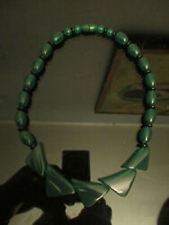 Vintage Art Deco Style Translucent Green Lucite Beaded Necklace Barrel Clasp