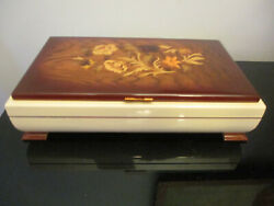 Vintage Swiss Reuge Italian Inlaid Wood Cream Lacquer Jewelry Music Box Sorrento
