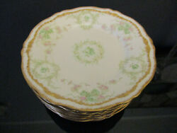 8 Antique Theodore Haviland Limoges Pink Green Roses Gold Gilt Cake Bb Plates