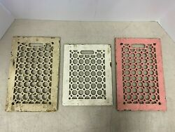 Vintage Antique Cast Iron Floor Wall Grate Grille Registers Vents Lot Of 3