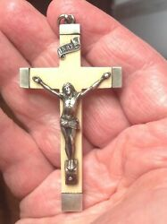 Antique Silver And Ivor. Cross Dated 1859. French Hallmarks Christ Crucifix
