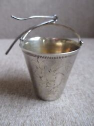 Antique Sterling Silver 876 And Gold Plated And Engraving Teapot Spout Tea Strainerandnbsp