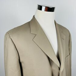 Brooks Brothers Mens 46l Makers Sport Coat Beige Wool Three Button Vented