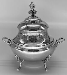 Antique Silver Plate Covered Bowl Figural Footed Oriental Man Aesthetic Beauty
