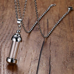 Stainless Steel Clear Tube Glass Bottle Urn Vial Charm Pendant Diy Necklace 1.7