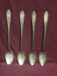 4 Silverplate Wallingford Andover Ice Tea Spoon 7 3/4 Young Mens Christian As