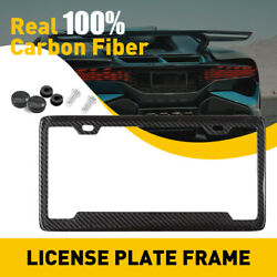 Real 100 Carbon Fiber Style License Plate Frame Tag Cover Orignal Braket Ad