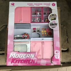 Kids Modern Kitchen Battery Operated Play set with Sound and Lights NEW