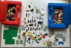 Vintage Lego Castle Knights Gray Yellow Mini Figures And 2 Bins Of Pieces