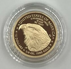 2021 W Type 2 American Eagle One Quarter Ounce Gold Proof Coin In Hand