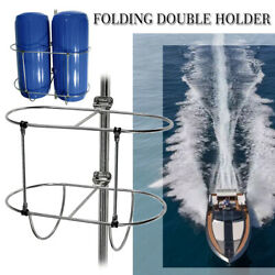 Us Stainless Folding Double Fender Holder Rack Fit Boat 7/8 And 1 Rails