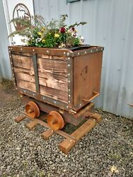 Antique Ore Cart Mining Circa 1900 Reproduction 3and039 Long 3and039 High 2and039 Wide