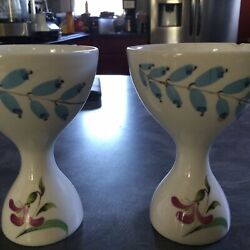 Eva Zeisel Hall China Hallcraft Bouquet Pattern Pair Of Egg Cups