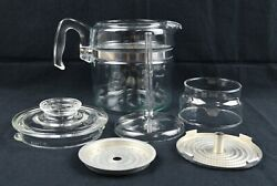 Vintage Pyrex Flameware Glass 6 Cup Coffee Pot Percolator 7756-b Complete