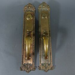 Antique Large Heavy Cast Bronze Entry Way Door Pull And Lockset 17.5 Tall