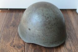 Original Wwii Portuguese M40 Military Steel Helmet W/ Liner And Chinstrap