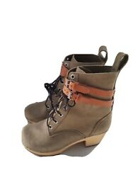 Swedish Hasbeens Hippie Lace Up Clogs Shoes Boots Sz 37