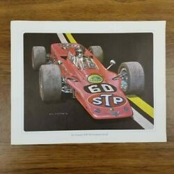 Lot Of 5 Vintage Indy Racing Prints Ron Burton 14x11 Andretti, Unser, Foyt