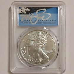 2019-w, Silver Eagle First Day Of Issue Thomas Cleveland Blue Eagle, Pcgs Sp70