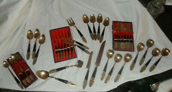 Gold And Black Flatware And Serving Buddha On Handle Marked Bb Siam 84 Pieces