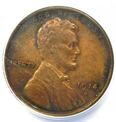 1914-d Lincoln Wheat Cent 1c. Certified Anacs Xf45 Details - Rare Key Date Penny